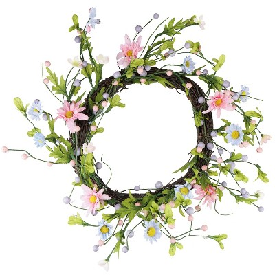 """Northlight 12"""" Unlit Green/Pink Artificial Floral Christmas Twig Wreath"""