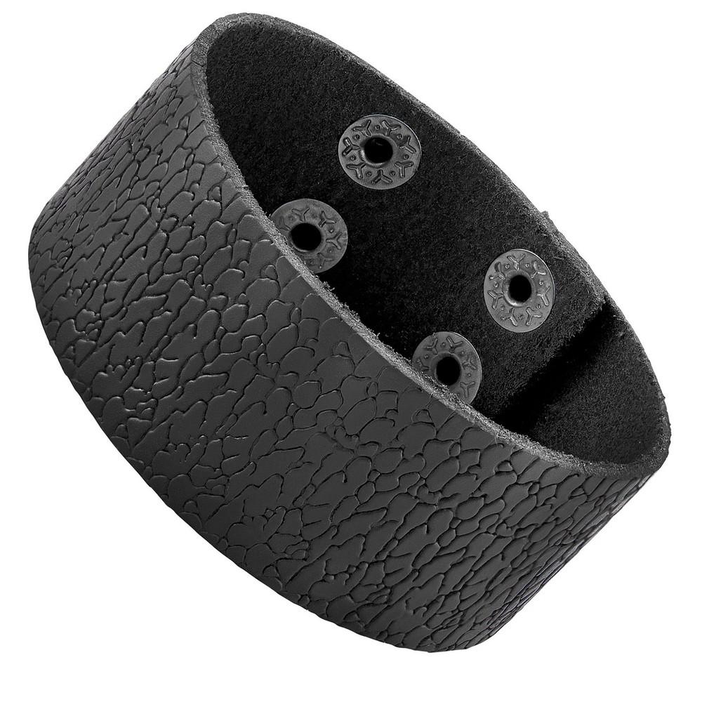 West Coast Jewelry Men's Leather Textured Cuff Bracelet - Black