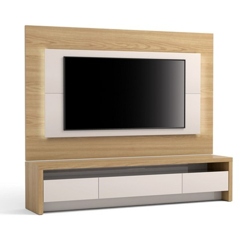 85 43 2pc Sylvan Natural Wood Tv Stand And Panel With Led Lights Off White Manhattan Comfort