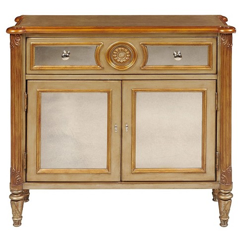 Shelby Mirrored Accent Chest with Two Doors Natural/Gold Accent - Pulaski - image 1 of 2