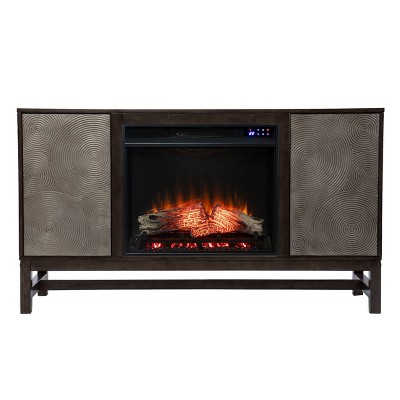 Tifchar Touch Panel Fireplace with Media Storage Brown/Silver - Aiden Lane