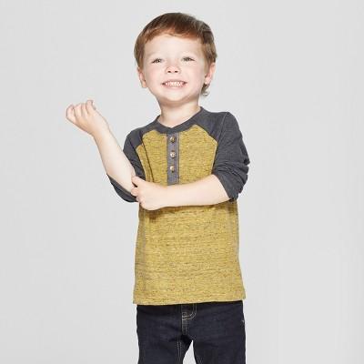 Toddler Boys' Raglan Long Sleeve Henley - Cat & Jack™ Mustard Yellow 12M