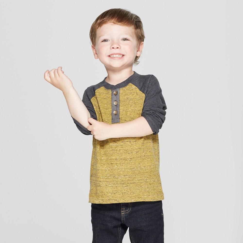 Toddler Boys' Raglan Long Sleeve Henley - Cat & Jack Mustard Yellow 2T