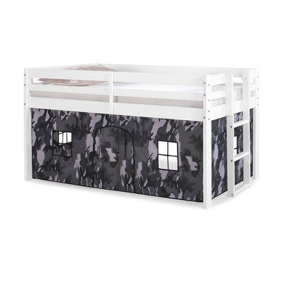 Twin Augusta Junior Loft Bed with Frame and Print Bottom Playhouse Tent - Alaterre Furniture
