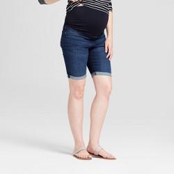 Maternity Crossover Panel Bermuda Jean Shorts - Isabel Maternity by Ingrid & Isabel™ Dark Wash