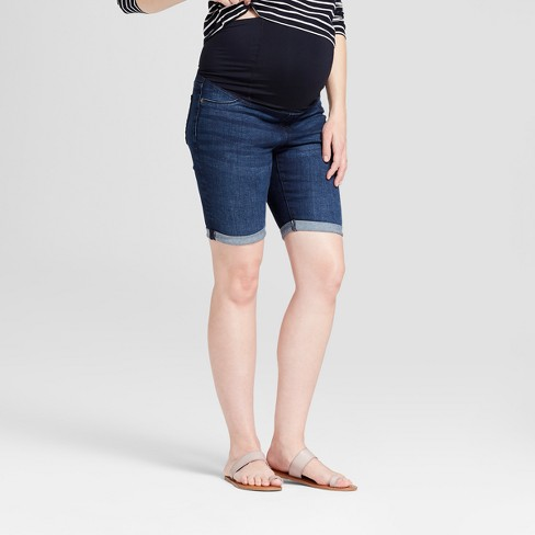 Maternity Crossover Panel Bermuda Jean Shorts - Isabel Maternity by Ingrid & Isabel™ Dark Wash - image 1 of 5