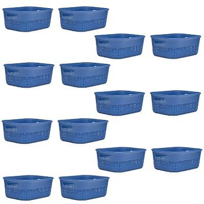 Life Story Lightweight Heavy Duty Storage Woven Basket 4 Quarts, Blue (14 Pack)