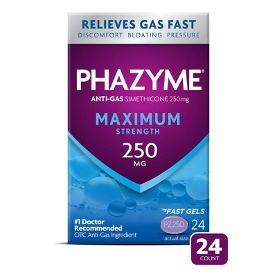 Phazyme Maximum Strength Gas & Bloating Relief Works in Minutes 250 mg Fast Gels - 24ct