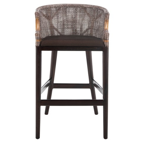 Brilliant 28 Brando Barstool Hardwood Brown Black Safavieh Theyellowbook Wood Chair Design Ideas Theyellowbookinfo