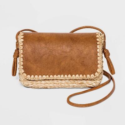Straw Flap Magnetic Closure Crossbody Bag - Universal Thread™