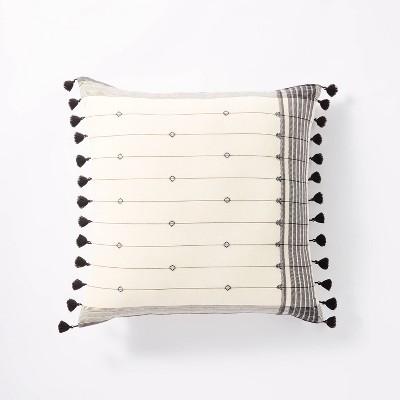 Dobby Striped Square Throw Pillow Cream/Black - Threshold™ designed w/ Studio McGee
