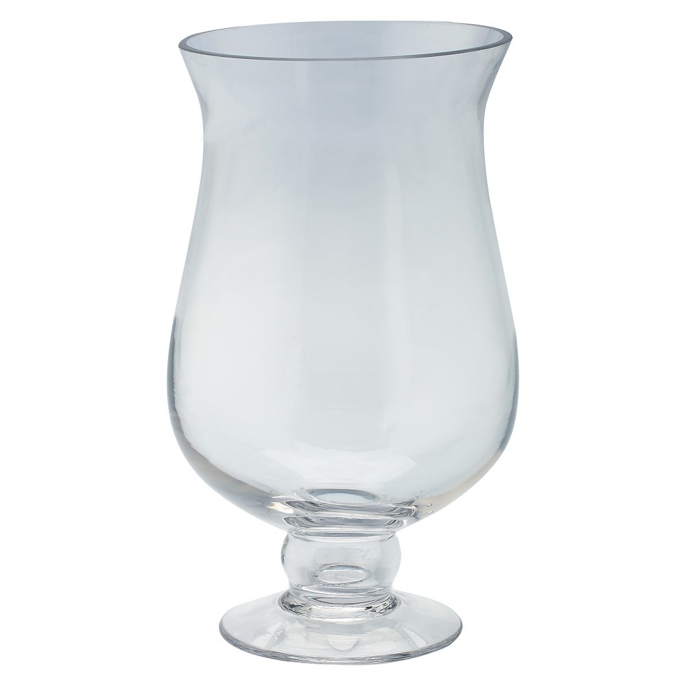 Image of Clear Glass Rounded Candleholder - Diamond Star