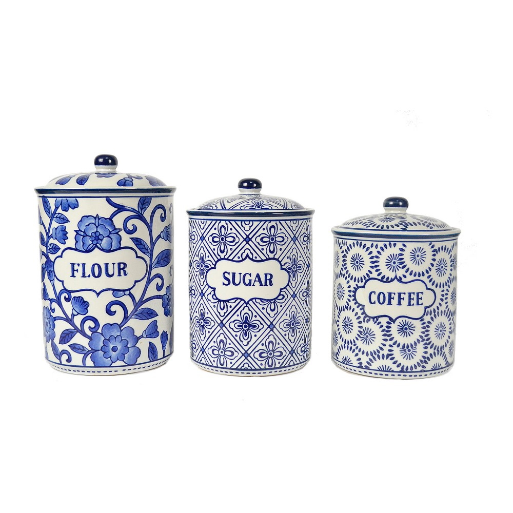 Image of Ceramic Food Canister Set of 3 1.5qt/2qt/3qt White/Blue - Drew DeRose