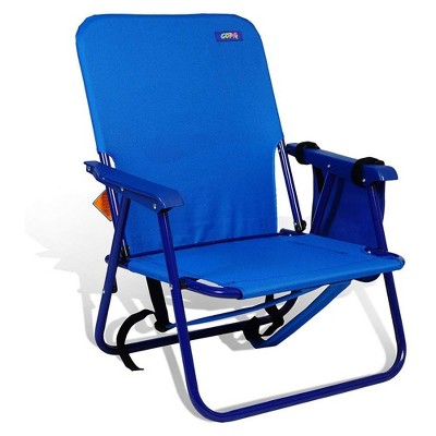 Copa Backpack Single Position Folding Aluminum Beach or Poolside Lounge Chair with Backpack Straps, Dark Blue