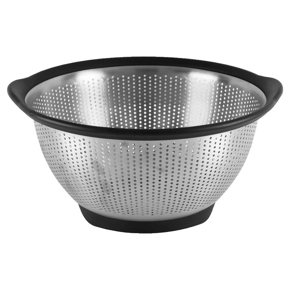 Image of KitchenAid 5 Quart Colander Stainless Steel Black Rim, Silver Black