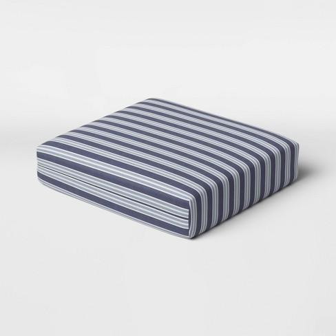 Coastal Stripe Outdoor Deep Seat Cushion DuraSeason Fabric™ Blue - Threshold™ - image 1 of 3