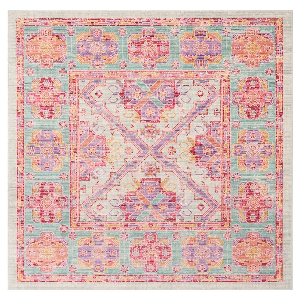 Spa/Fuchsia Medallion Loomed Square Area Rug 6'X6' - Safavieh, Pink Blue