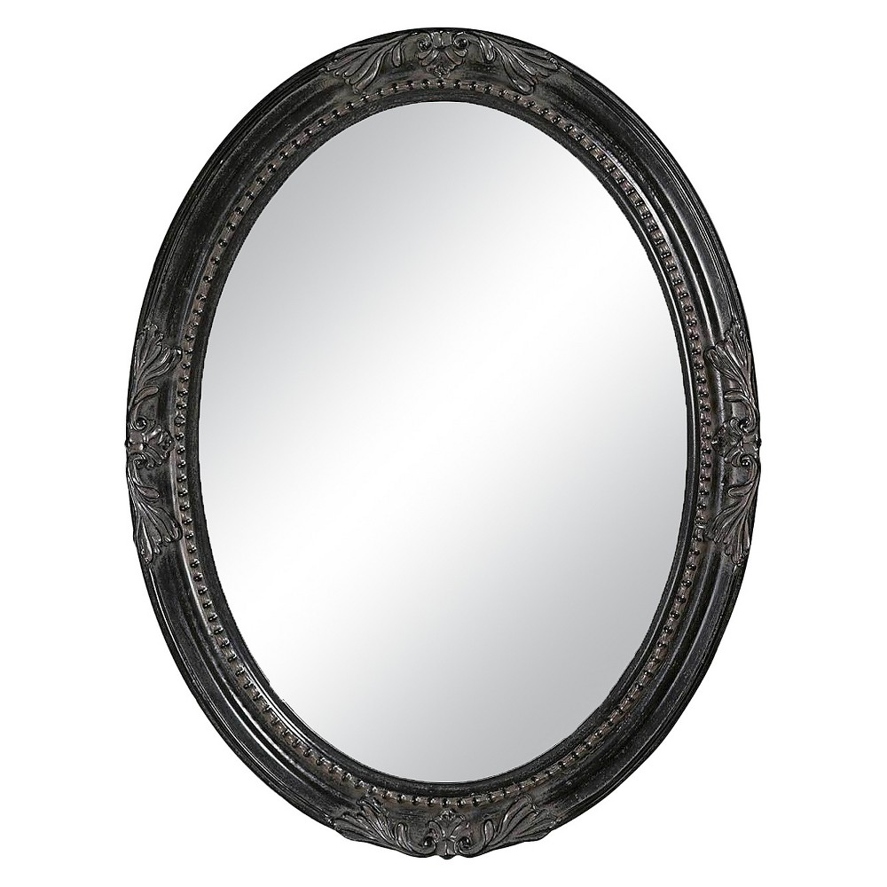 Image of Oval Collection Queen Anne Decorative Wall Mirror Vintage Black - Howard Elliott