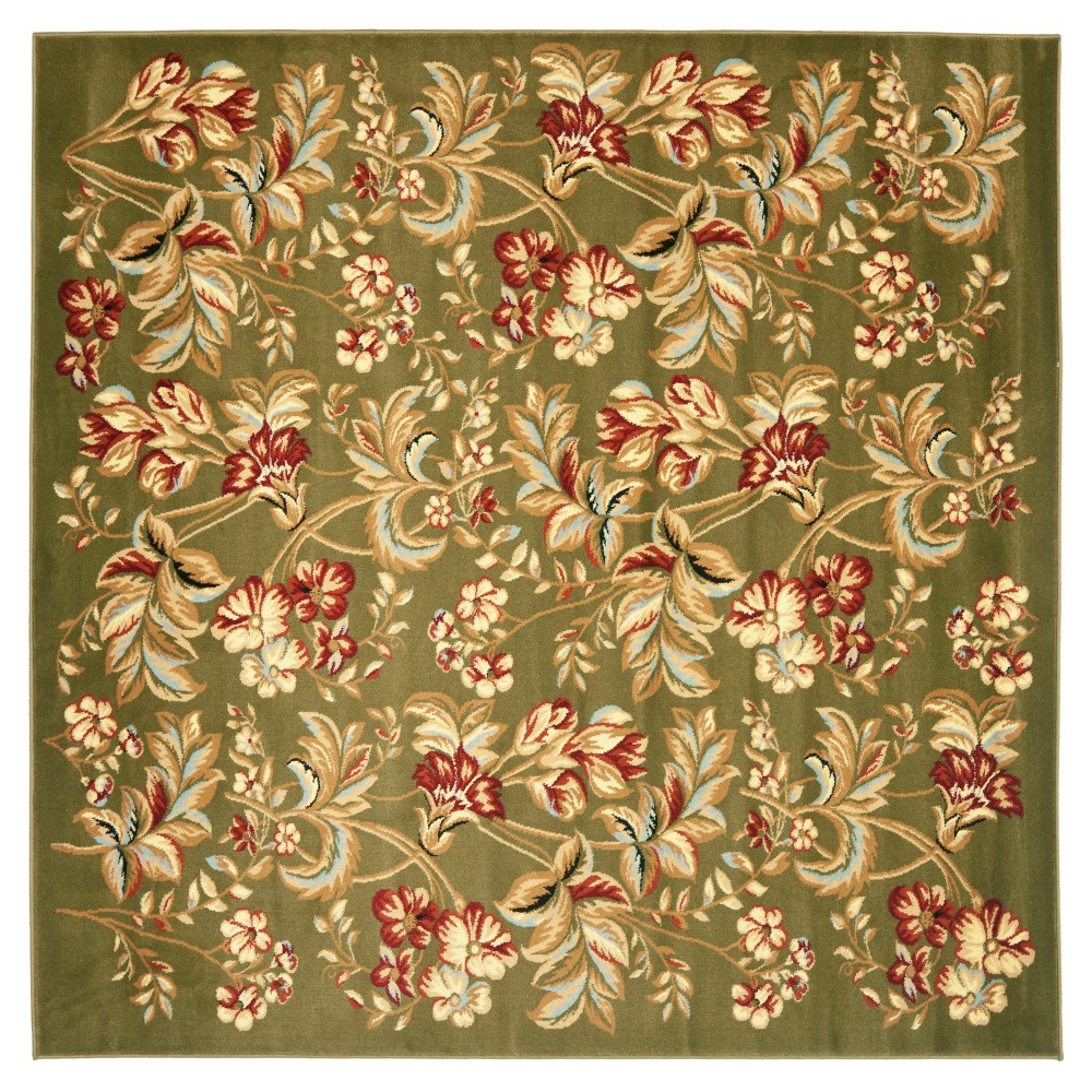 Sage Floral Loomed Square Area Rug 7x7 Safavieh Brown
