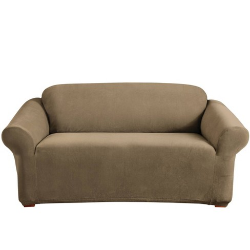 Stretch Pearson Loveseat Slipcover Brown Clay - Sure Fit - image 1 of 3