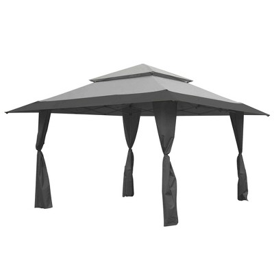 Z-Shade 13' x 13' Foot Instant Gazebo Canopy Tent Outdoor Patio Shelter, Gray
