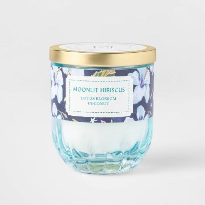 7oz Lidded Blue Ribbed Glass Jar Mandarin Hibiscus Candle - Opalhouse™