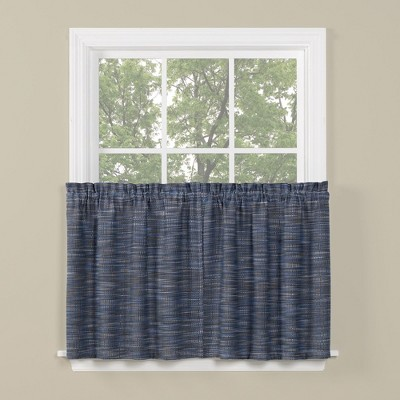 "Saturday Knight Ltd Copeland Collection High Quality Stylish Versatile & Classic 2-Piece Window Tiers - 57""x36"" in Blue Color"