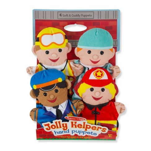 Melissa & Doug Jolly Helpers Hand Puppets (Set of 4) - Construction Worker, Doctor, Police Officer, and Firefighter - image 1 of 4
