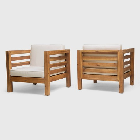 Oana 2PK Acacia Wood Club Chairs - Christopher Knight Home  - image 1 of 4