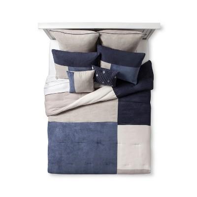Navy Westport Micro Suede Comforter Set (Queen)8pc