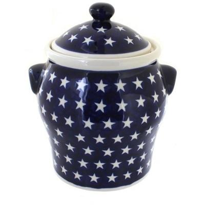 Blue Rose Polish Pottery Stars Large Canister