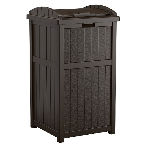 Suncast Trash Hideaway Outdoor Patio 33 Gallon Garbage Waste Can Bin Java Target