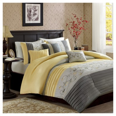 Yellow Monroe Embroidered Duvet Cover Set (Full/Queen)6pc