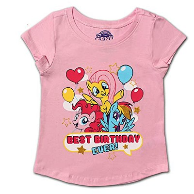 Girl's My Little Pony Best Birthday Ever! Short Sleeve Graphic Tee For Kids