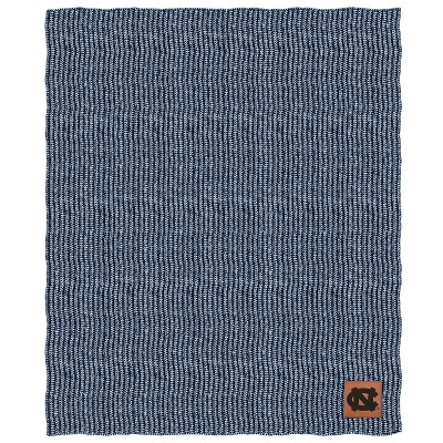 NCAA North Carolina Tar Heels Two- Tone Sweater Knit Throw Blanket with Faux Leather Logo Patch