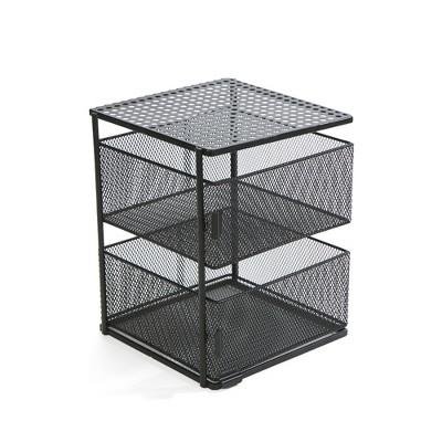 MIND READER Metal Mesh Magnetic Organizer [2 TIER] Slide Out Basket Drawer For Kitchen, Bathroom, Office Desk (BLACK)