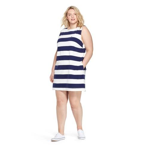 27fcb179e1775e Women s Plus Size Sleeveless Striped Crewneck Knit Dress - White Navy - vineyard  vines® for Target