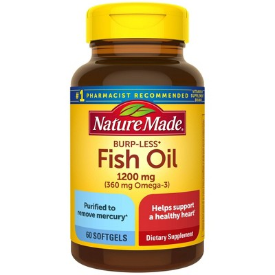 Nature Made Burpless Fish Oil 1200 mg Softgels - 60ct
