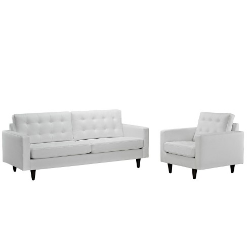 Set of 2 Empress Sofa and Armchair White - Modway - image 1 of 4