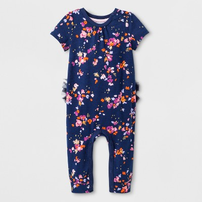 Baby Girls' Short Sleeve Romper - Cat & Jack™ Navy/Floral 6-9M