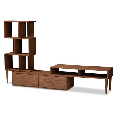 Haversham Mid   Century Retro Modern TV Stand Entertainment Center And  Display Unit   Walnut Brown   Baxton Studio