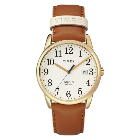 d2c4a3cee Women's Timex Easy Reader Watch With Leather Strap - Brown TW2R62700JT :  Target