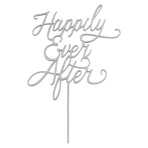 Kate Aspen Happily Ever After Silver Wedding Cake Topper - image 1 of 1