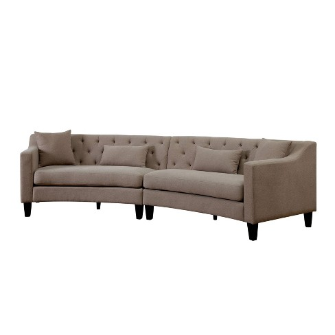 Stupendous Amelie Upholstered Sectional With Ottoman Taupe Homes Inside Out Onthecornerstone Fun Painted Chair Ideas Images Onthecornerstoneorg