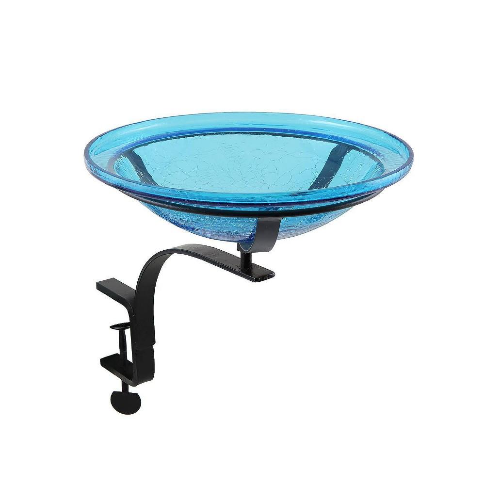 13 7 34 Diameter Reflective Crackle Glass Birdbath Bowl With Rail Mount Bracket Teal Blue Achla Designs