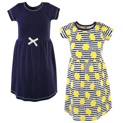Touched by Nature Big Girls and Youth Organic Cotton Short-Sleeve Dresses 2pk, Lemons