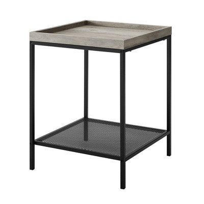 Industrial Square Tray Side Table with Metal Mesh Shelf Gray Wash - Saracina Home