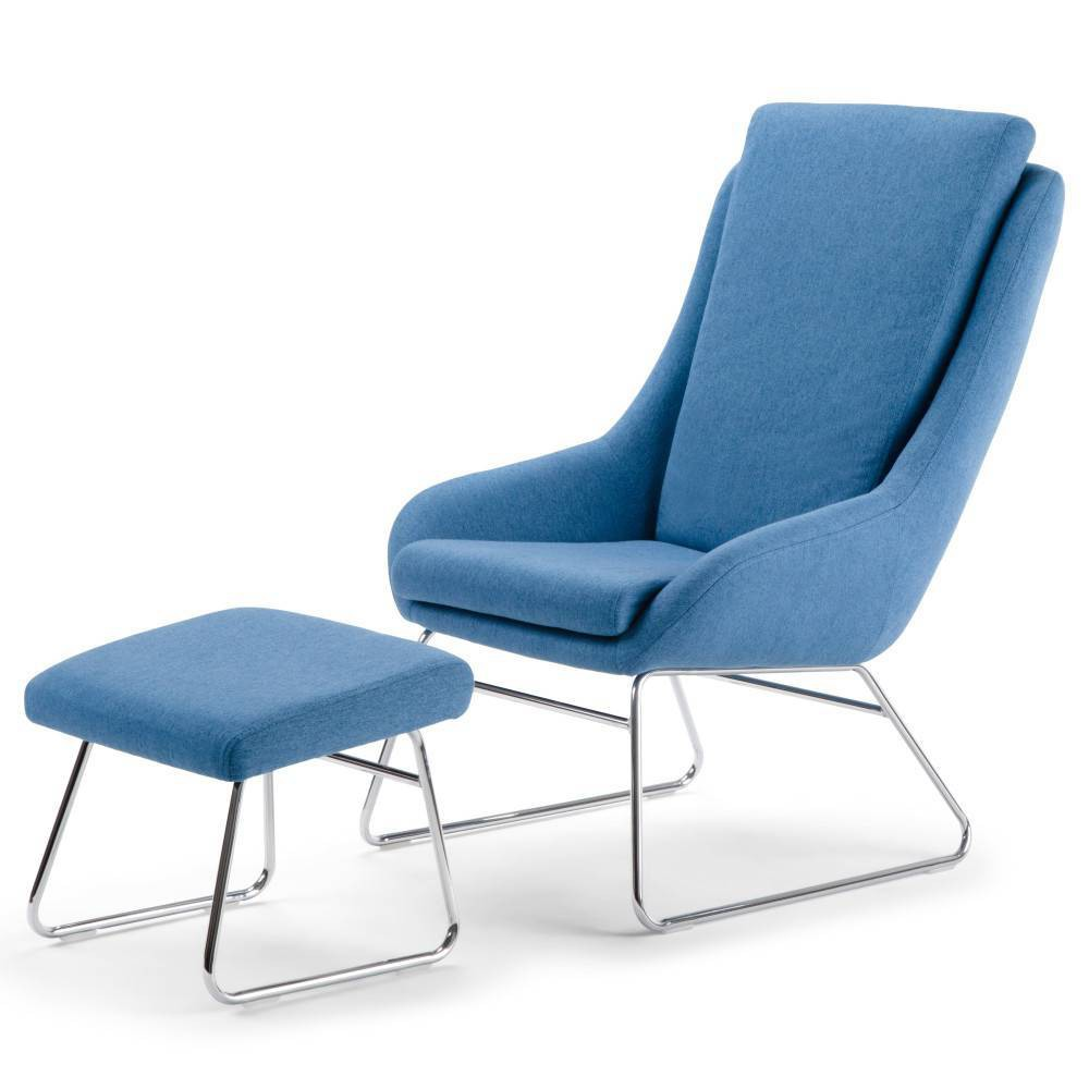 """Image of """"26"""""""" Stacey Accent chair with Footstool Blue - Wyndenhall"""""""