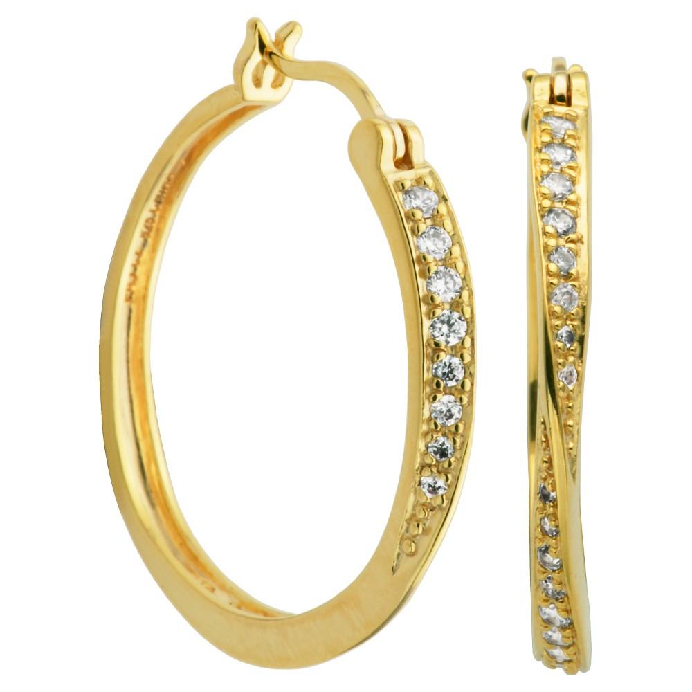 Image of 18k Yellow Gold Plated Sterling Silver CZ Hoop Earrings, Women's