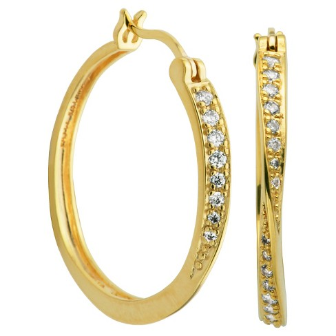 066af38a3 18k Yellow Gold Plated Sterling Silver CZ Hoop Earrings : Target